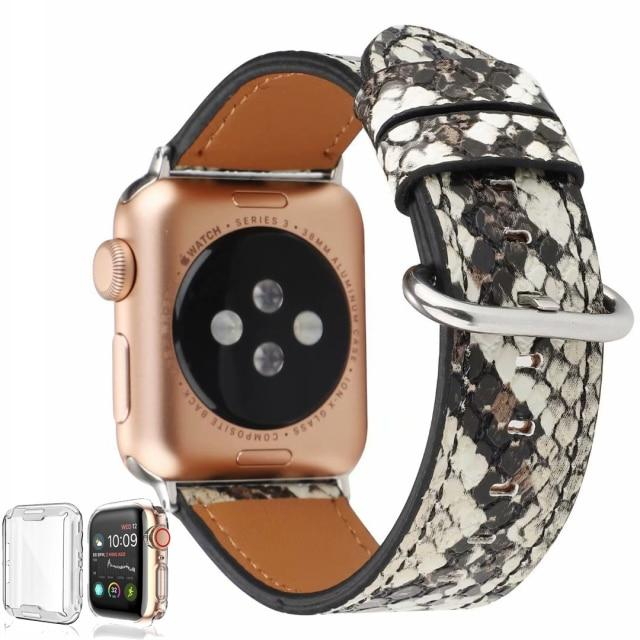 Leather Snakeskin Band For All Apple Watch Series And Sizes
