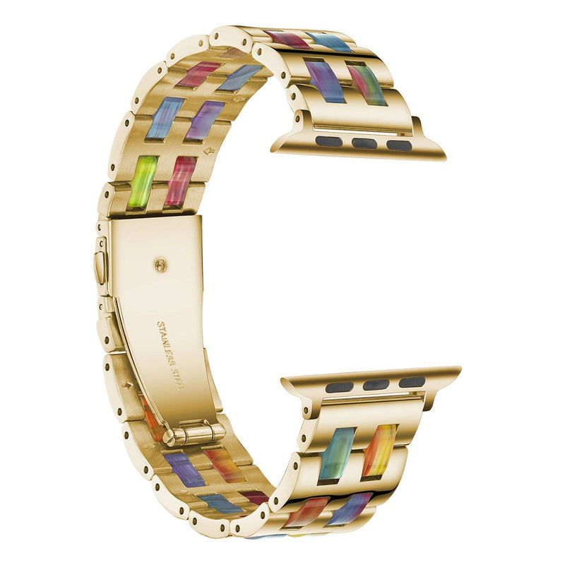 Luxury Stainless Steel Resin Colorful Apple Watch Band For All Apple Watch Series