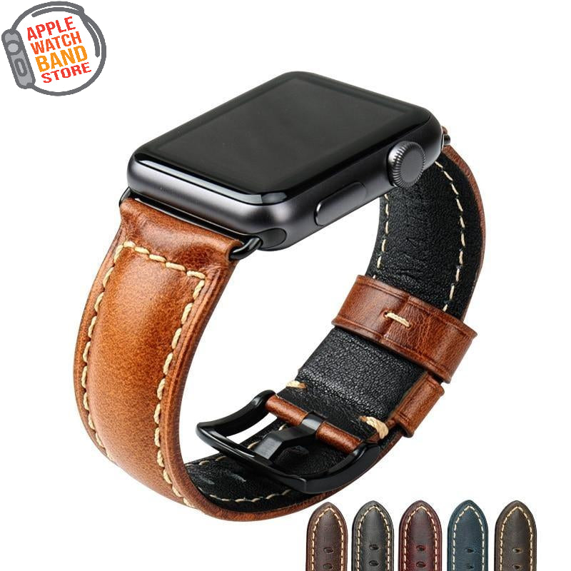 Oil Wax Leather Bracelet For All Apple Watch Series And Sizes