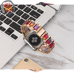 Resin And Stainless Steel Strap For All Apple Watch Series (38mm / 40mm And 42mm / 44mm)- Multiple Colors