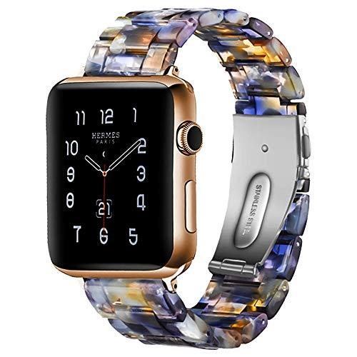Resin Strap -w- Stainless Steel Buckle For All Apple Watch Series - Multiple Color Patterns