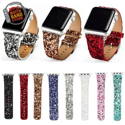Shiny Glitter Bling Leather Band For All Apple Watch Series