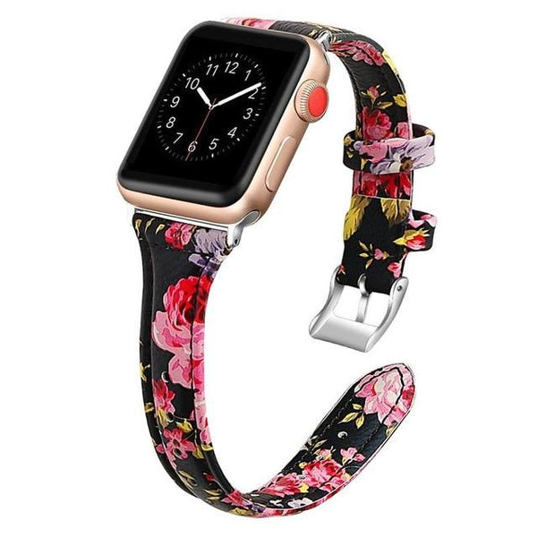 Slim Leather Bracelet Strap For All Apple Watch Series - Multiple Colors/Patterns