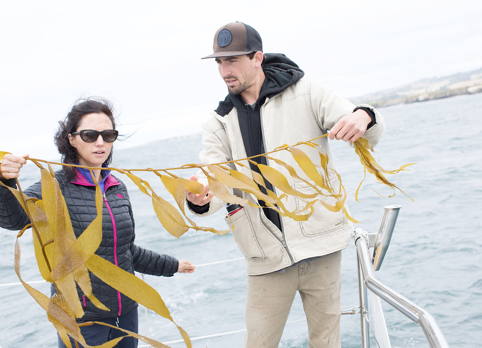 Dara and Ian with giant kelp for Sea Soak
