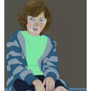 A portrait of a young boy sitting on a wall (Colour Pencil on card) - Giclee Print