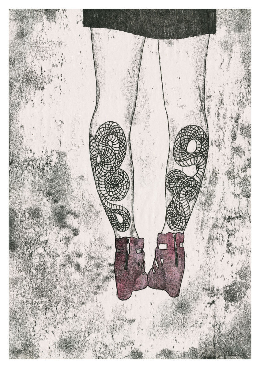 Snake Leg Tattoos, hand coloured monoprint. Available as a Giclee Print.