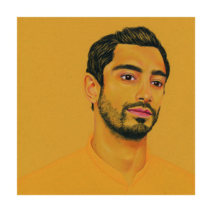 A colour pencil portrait of the actor Riz Ahmed, available as a Giclee print.