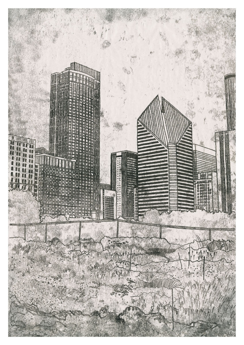 A monoprint of Lurie Garden in Chicago. Artwork available as a Giclee Print.