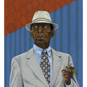 A very stylish black gentleman wearing a hat, seen in Brooklyn. Giclee Print.