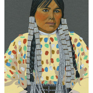 Colour Pencil Illustration of a Native American Woman, Giclee Print