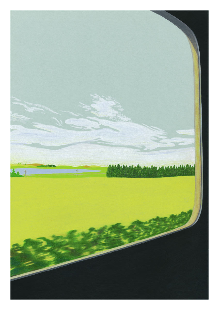 View from a train window, original art work pencil and paint on card. Available as a Giclee Print.