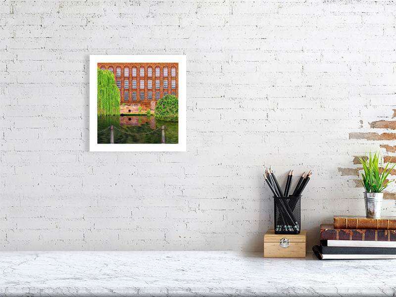 Illustration of an old Mill on the waterfront of the River Wensum in Norwich, Norfolk. Giclee Print available to buy.