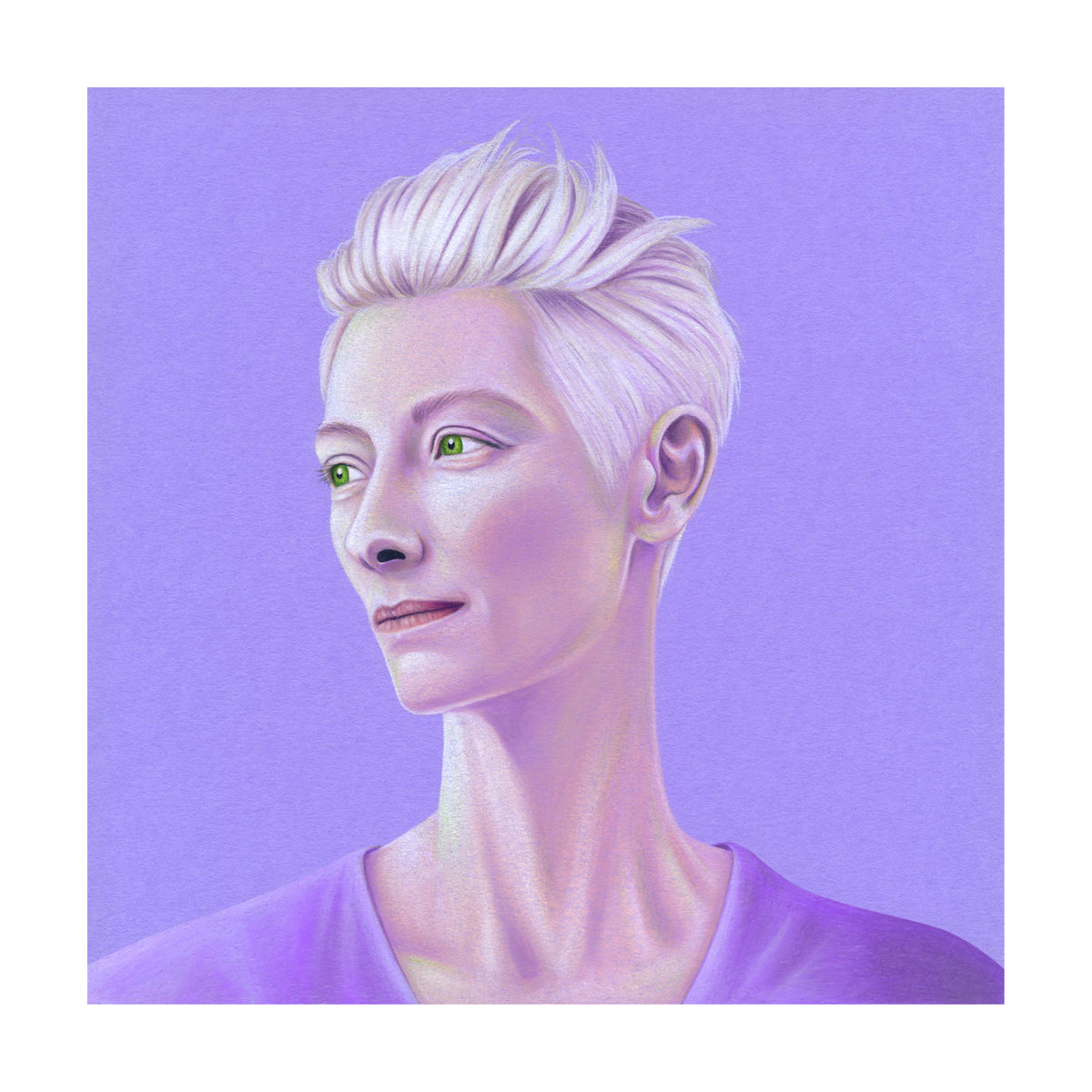 Tilda Swinton Illustration (Colour Pencil on lilac card) Giclée Print
