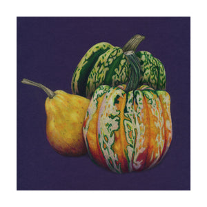 An autumnal still life of a collection of Gourds. Original artwork - colour pencil on purple card. Giclee Print