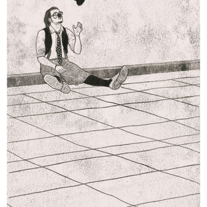 An A3 Giclee Print of a Bored Clown (Original artwork created as a Monoprint)