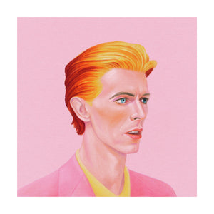 A portrait of the musician, David Bowie (Colour Pencil on Pink Card) Giclee Print