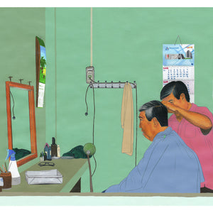 A barbershop scene in Asia (Colour Pencil & Acrylic) - Giclee Print