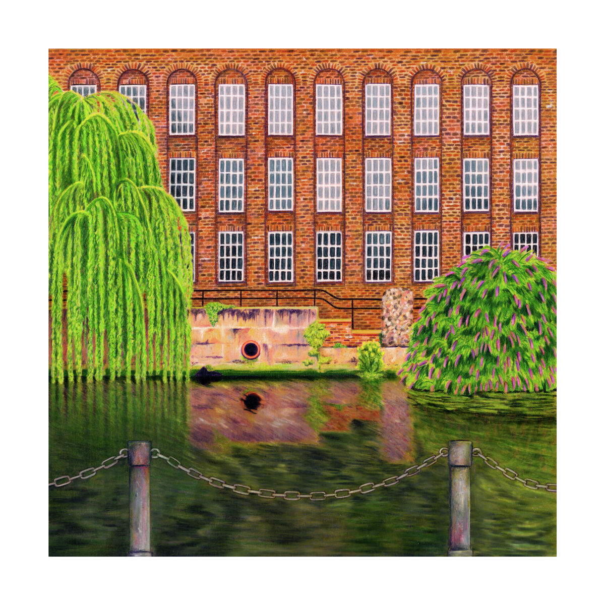 Illustration of an old Mill on the waterfront of the River Wensum in Norwich, Norfolk.