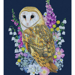 A Barn Owl surrounded by British Wild Meadow Flowers. Available as a Giclee Print.