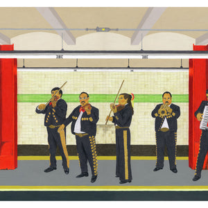 A mariachi band in a New York subway. Original artwork - pencil and acrylic on card. Available as a Giclee Print.