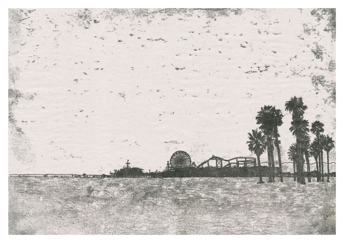Monoprint of Santa Monica Pier, California. Available as a Giclee Print.