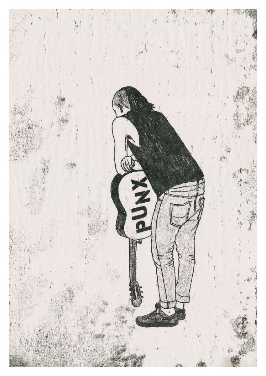 A punk leaning on his guitar, original artwork created as a monoprint. Available as a Giclee Print.