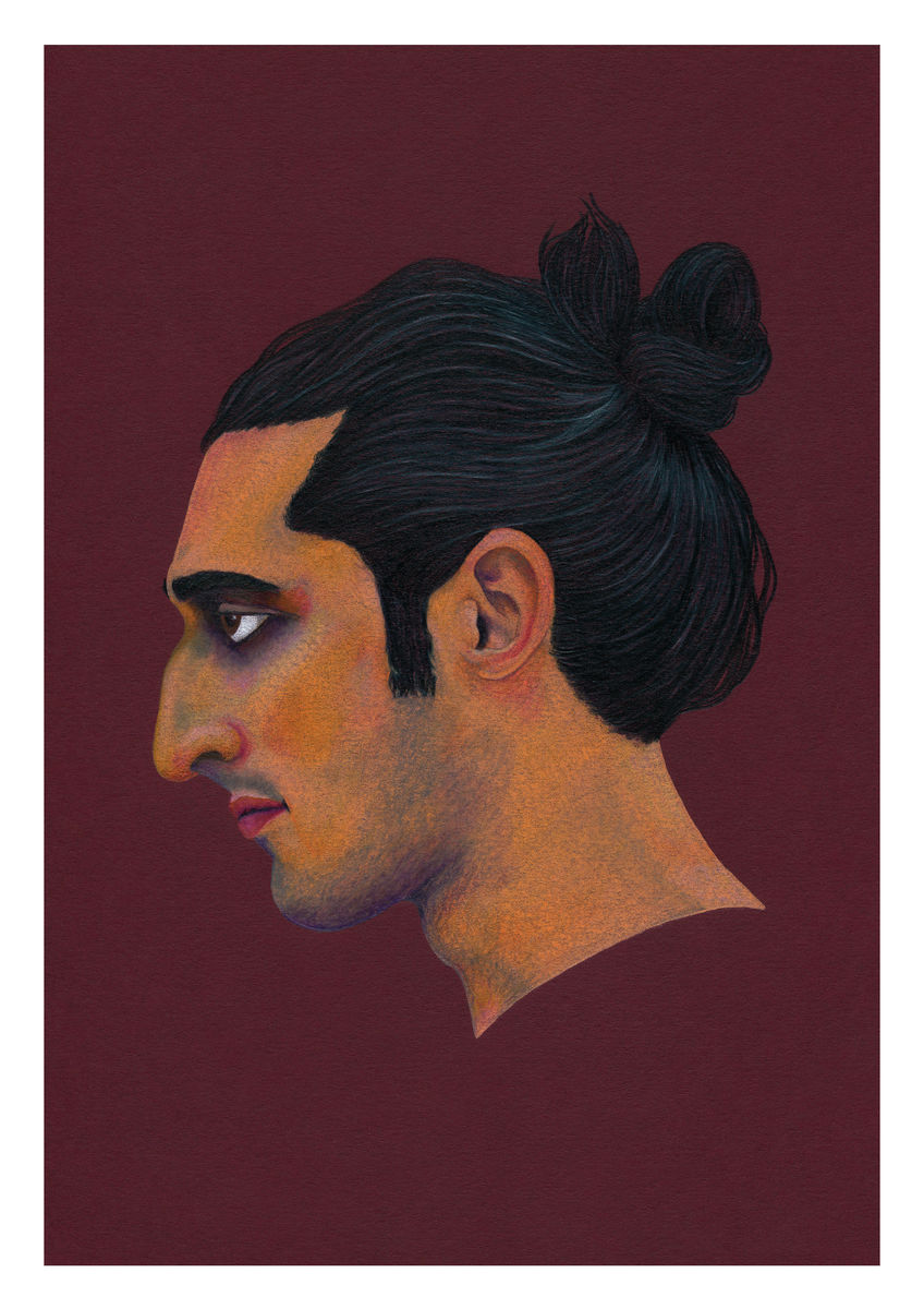 A portrait of a man in profile, seen in Brooklyn, New York. Available as a Giclee Print.