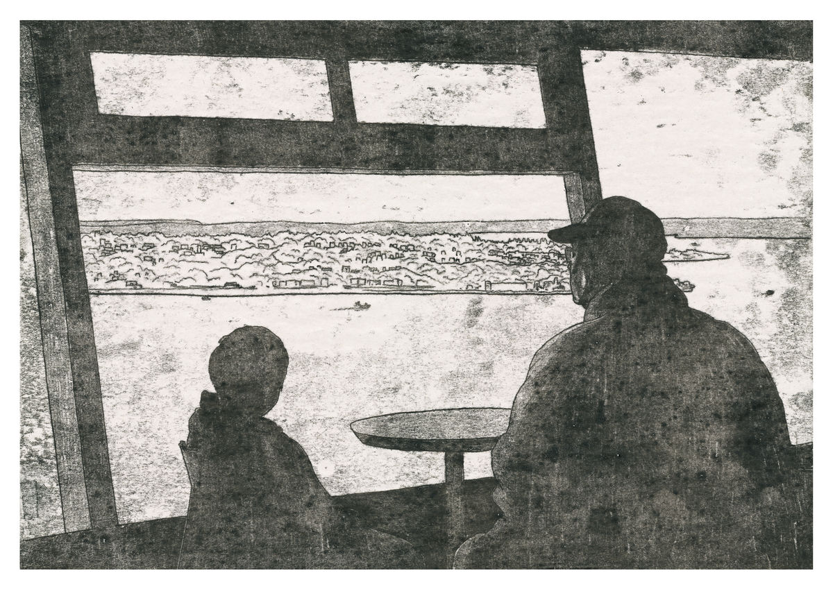 A monoprint of a father and son looking out from a tower. Available as a Giclee Print.