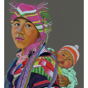 A colour pencil portrait of a Nepalese Mother & Child - Available as a Giclee Print.