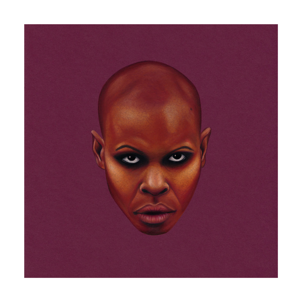 A portrait of Skunk Anansie front woman, Skin. Colour Pencil on Card. Available as a Giclee Print.