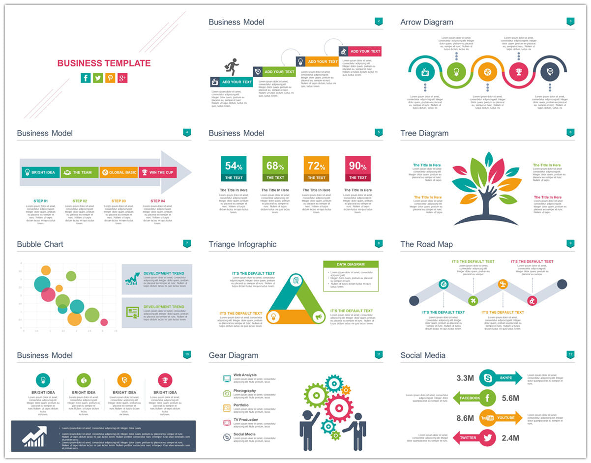 {PowerPointEasy}-{Templates}-{100 Flat Design Infographics of Business Template}-{bundle}-Slide1