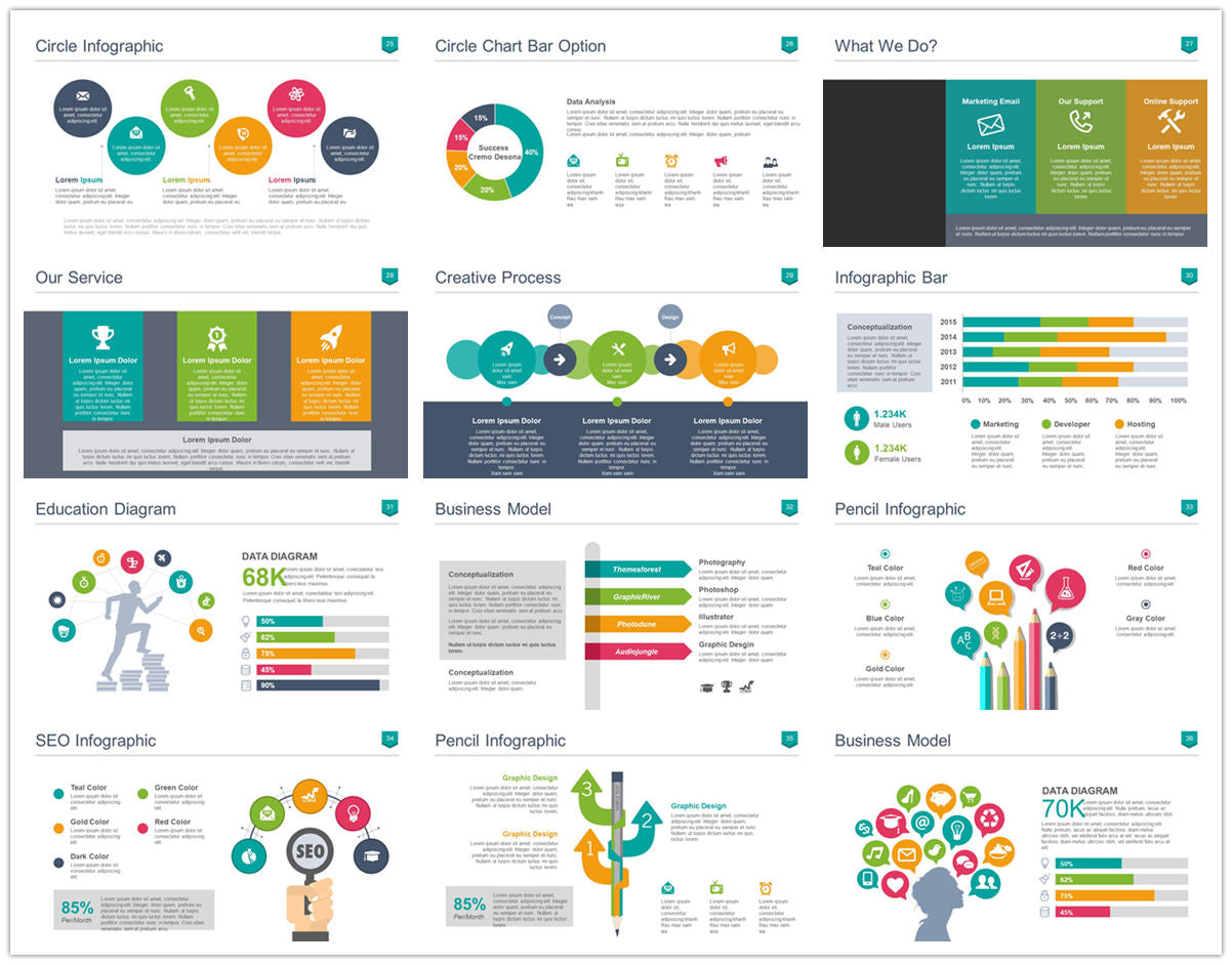 {PowerPointEasy}-{Templates}-{100 Flat Design Infographics of Business Template}-{bundle}-Slide3