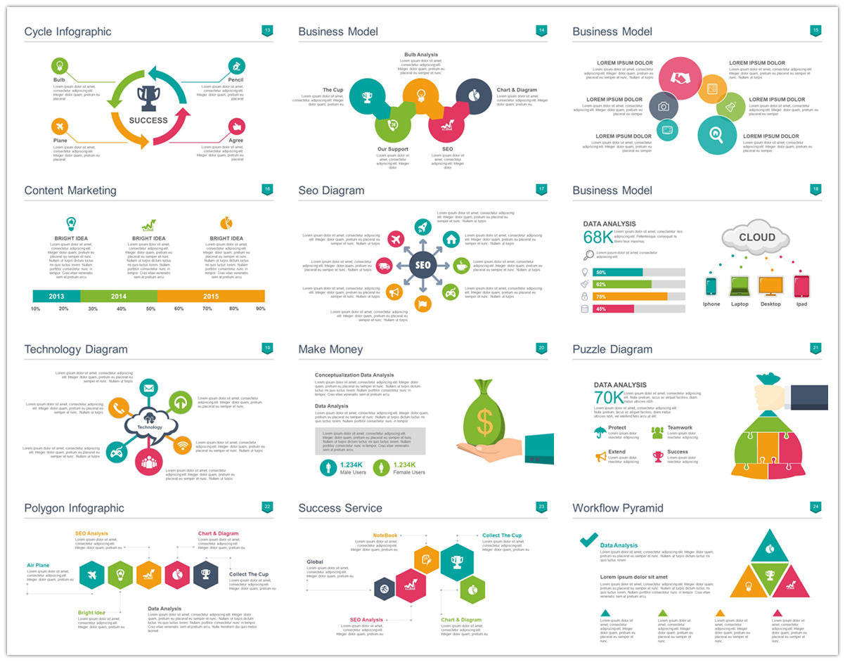 {PowerPointEasy}-{Templates}-{100 Flat Design Infographics of Business Template}-{bundle}-Slide2