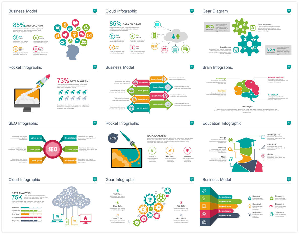 {PowerPointEasy}-{Templates}-{100 Flat Design Infographics of Business Template}-{bundle}-Slide4