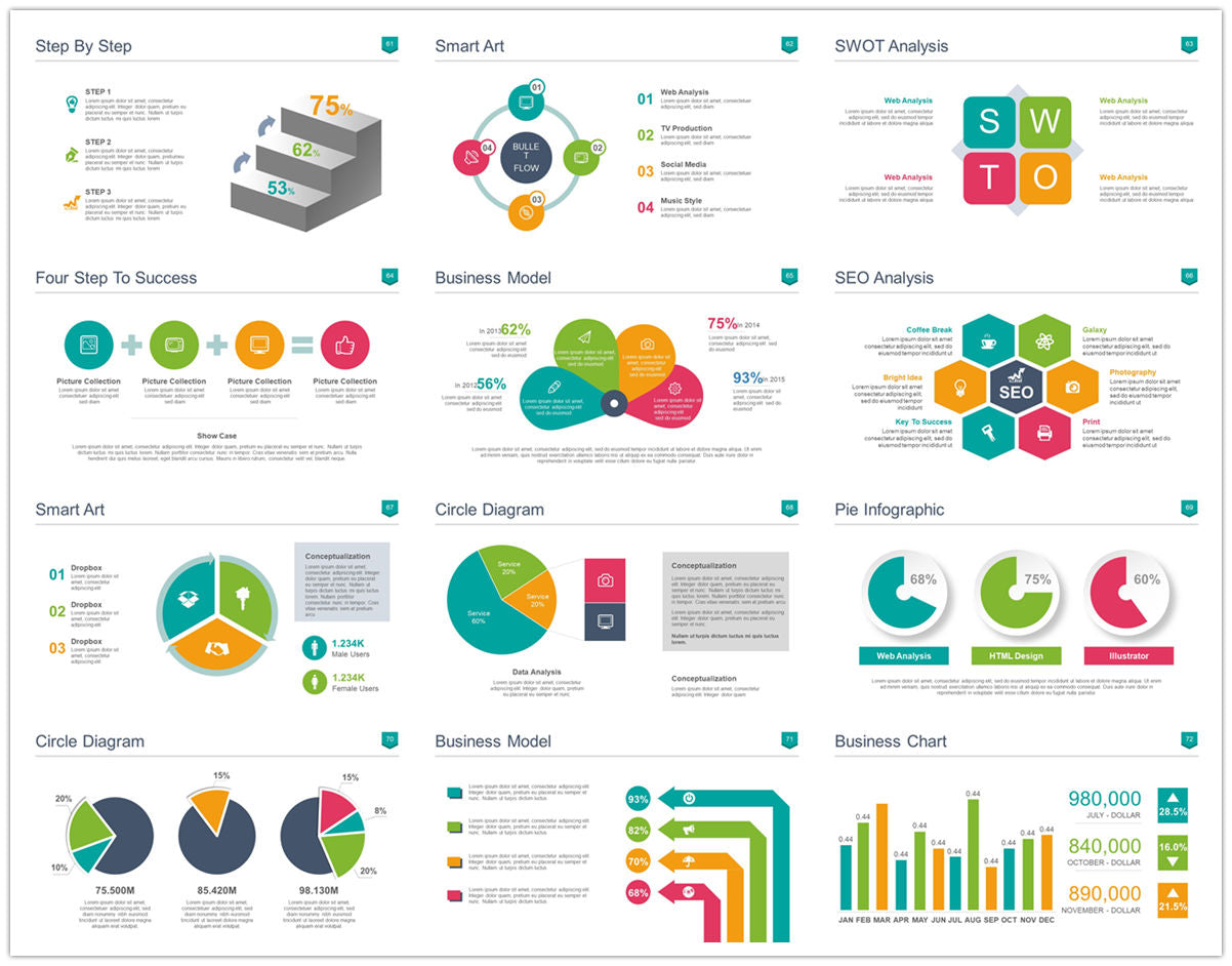 {PowerPointEasy}-{Templates}-{100 Flat Design Infographics of Business Template}-{bundle}-Slide6