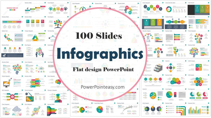 100 Flat Design Infographics Powerpoint of Business Template - PowerPointEasy