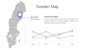 Sweden vector Map PowerPoint - PowerPointEasy