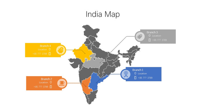 India vector Map PowerPoint - PowerPointEasy
