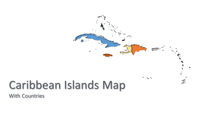Caribbean Islands vector map powerpoint - PowerPointEasy