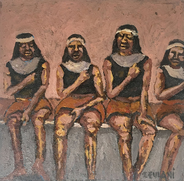 Ernest Fulani Painting 'Four dancers sitting'
