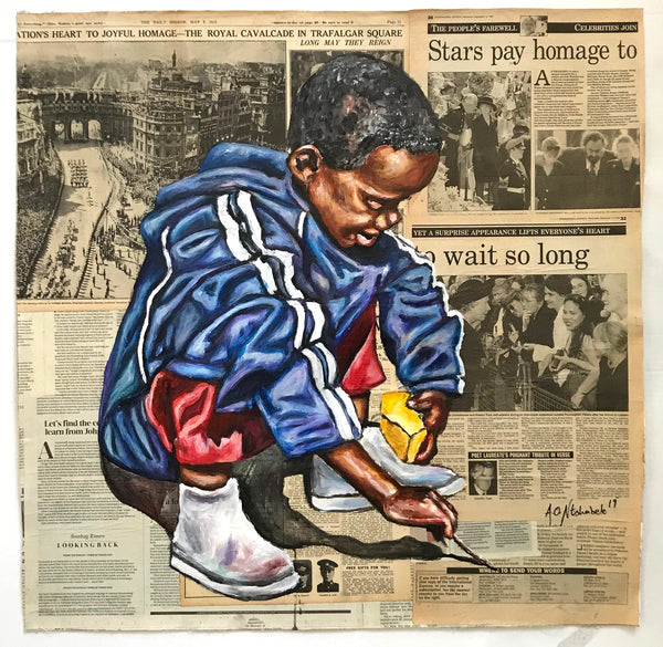 Andrew Ntshabele 'Think it over III' 77x77cm