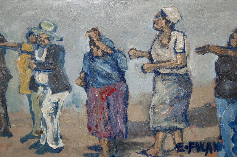 Ernest Fulani Painting '3 Ladies,  1 Man and 1 Baby'