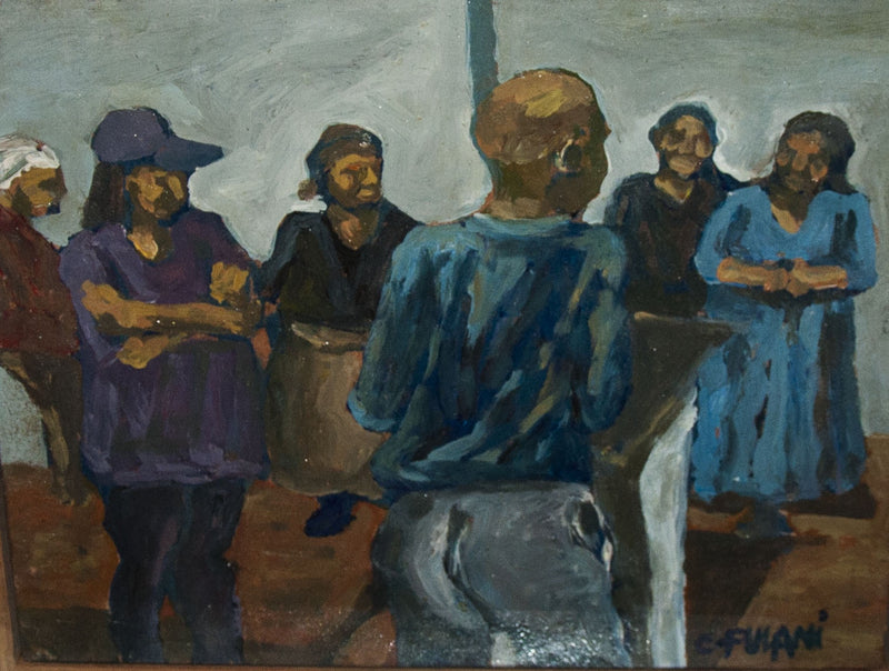 Ernest Fulani Painting '6 People In Blue' framed