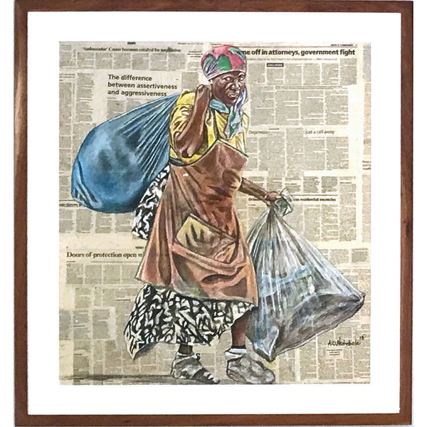 Andrew Ntshabele Painting on Newspaper 'Brave Woman' C