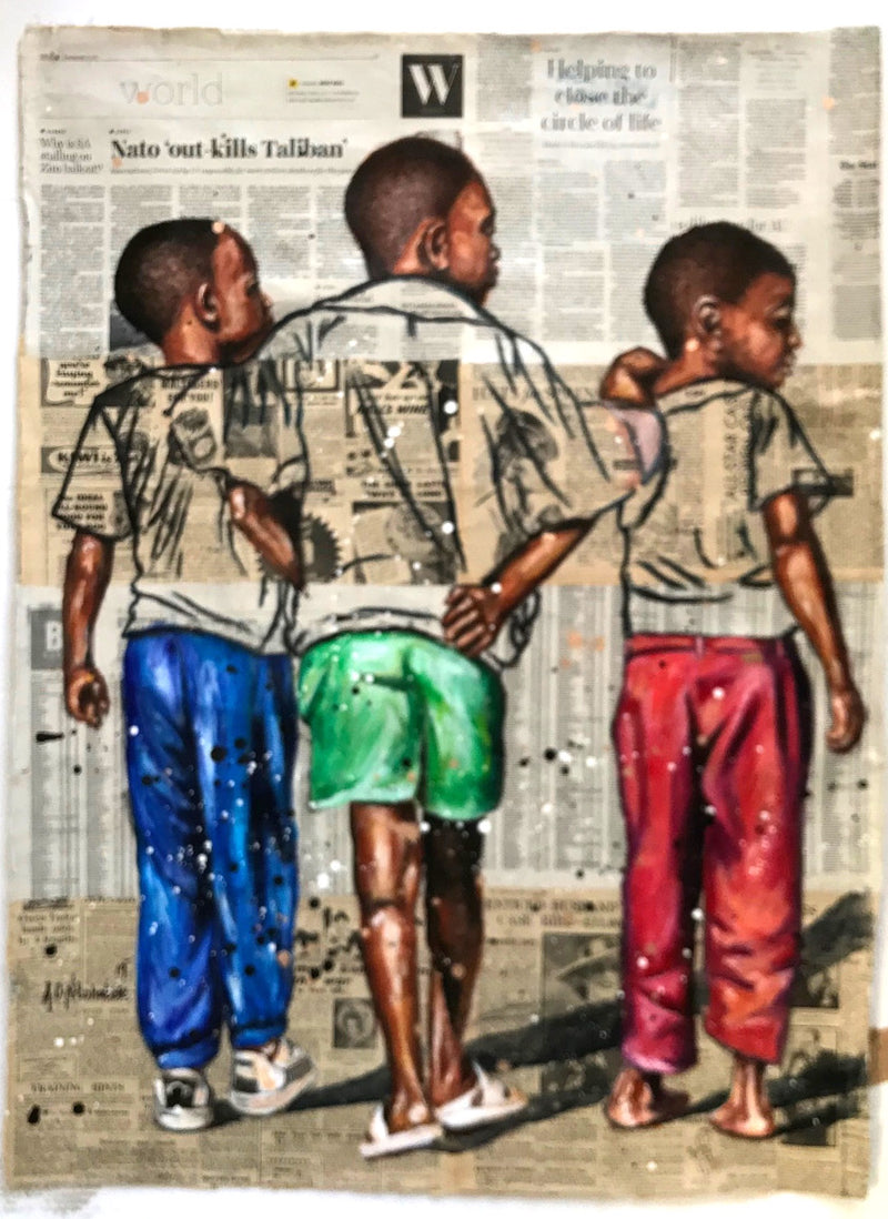 Andrew Ntshabele 'Three friends' 105x77cm