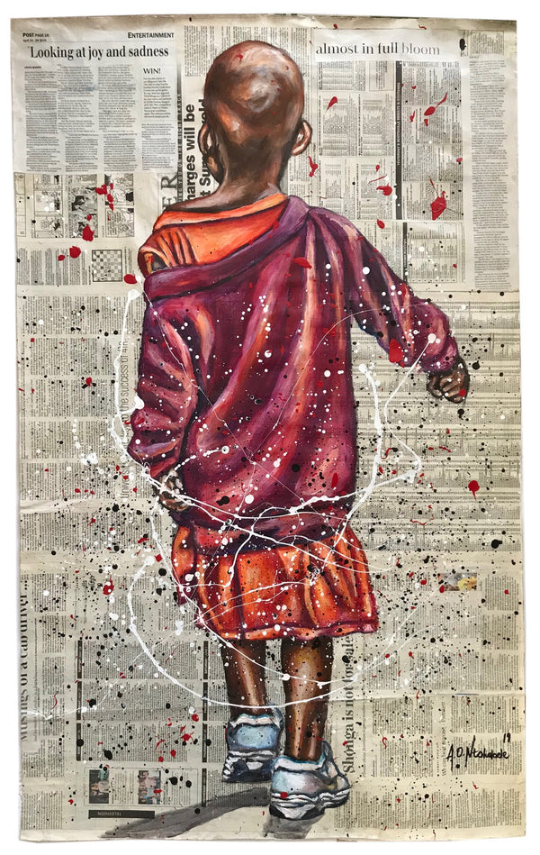 Andrew Ntshabele 'My purple shirt' 112x77cm