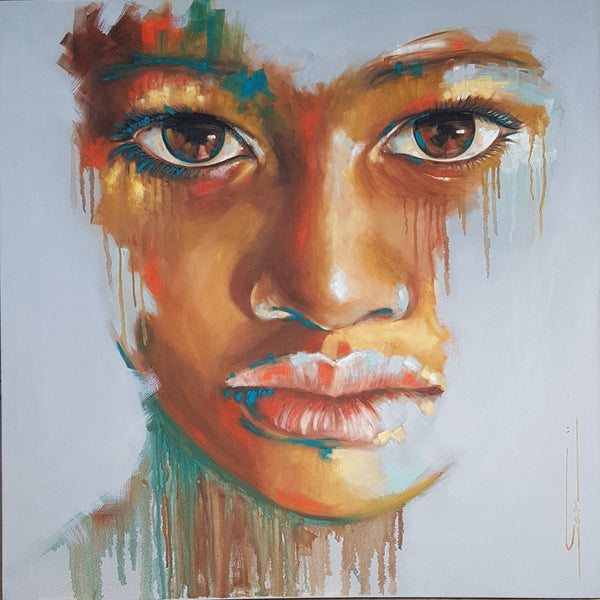 Sara Gaga Painting 'They heard' 100 x 100 cm C