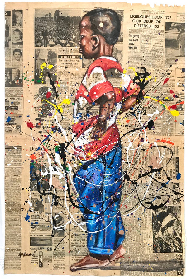 Andrew Ntshabele 'Boy in striped shirt with blue trousers' 113x74cm