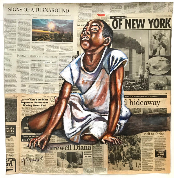 Andrew Ntshabele 'Boy in white shirt' 75x73cm