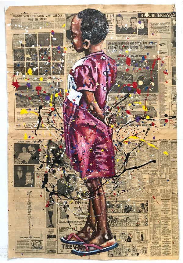 Andrew Ntshabele 'Think it over II' 112x75cm